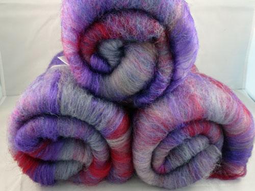 Purple and Plum Wool/Silk Batts