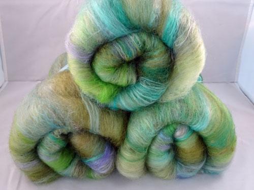Variegated Green Merino/Silk Batts