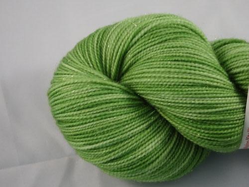 Twinkling Green SW Merino Sock Yarn/Nylon/Stellina