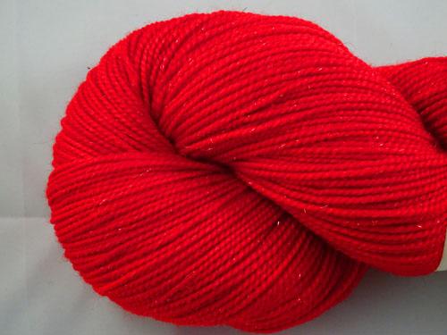 Real Red SW Merino/Nylon/Stellina Sock Yarn