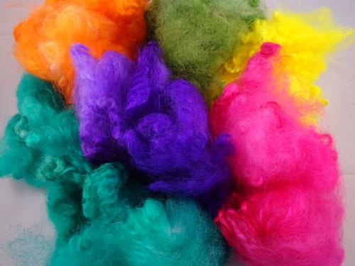Greens, Orange, Pink, Yellow & Puprle Dyed Fleece