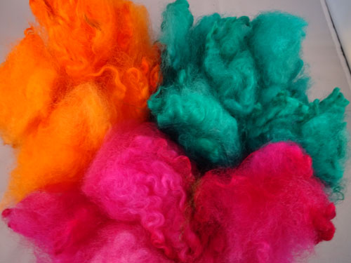 Brights - Orange, Green and Pink Dyed Fleece