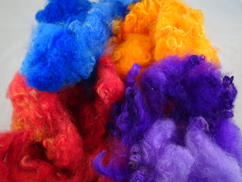 Red, Blue, Purple and Orange Dyed Fleece