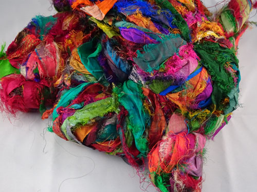 Green Multi Sari Silk Ribbon