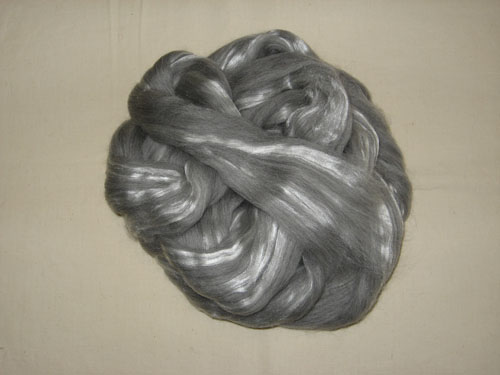 Grey Merino 23 mic/Tussah Silk 70/30 Tops