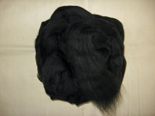 Jet Black (Dyed) Merino Tops
