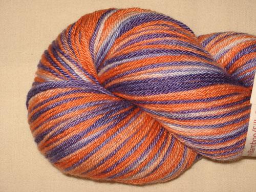 Orange & Purple Superwash Merino/Bamboo/Silk Sock Yarn