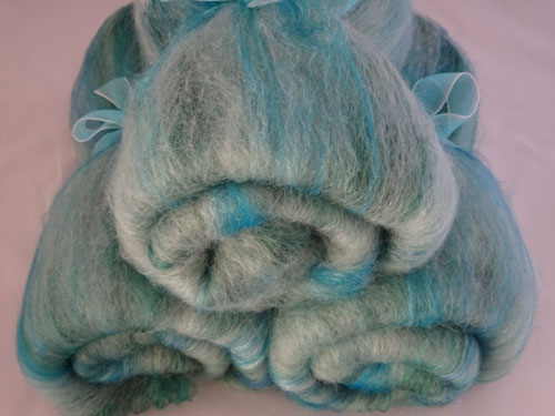 Ocean Green Wool/bamboo/silk Batts