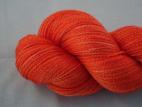Reddy Orange Merino/Silk Laceweight Yarn